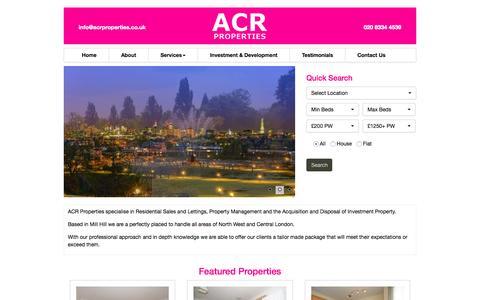 Screenshot of Home Page acrproperties.co.uk - acrproperties - captured Aug. 5, 2015