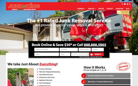 Screenshot of Home Page junk-king.com - North America's Best Junk Removal and Hauling Service | Junk King - captured Oct. 2, 2015