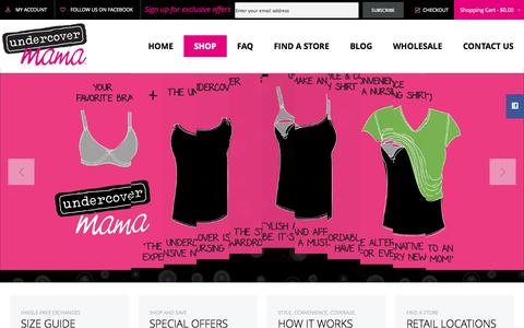 Screenshot of Home Page undercovermama.com - Home page  - Undercover Mama - Clothes For Nursing and More - captured Sept. 23, 2014