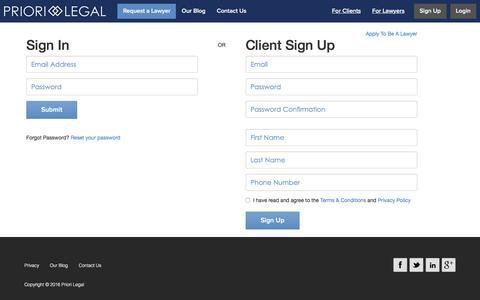 Screenshot of Login Page priorilegal.com - Priori Legal - Connecting Your Business with Trusted Lawyers - captured Jan. 31, 2016