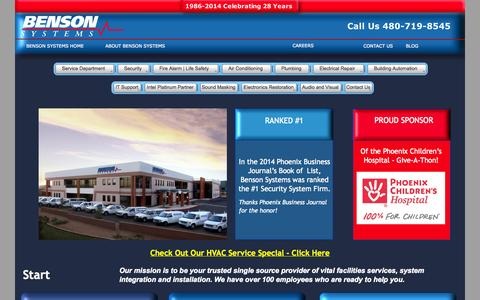 Screenshot of Home Page bensonsys.com - Benson Systems | Fire Alarm | Electrical | Security | Electronics Restoration | IT Services - captured Oct. 5, 2014