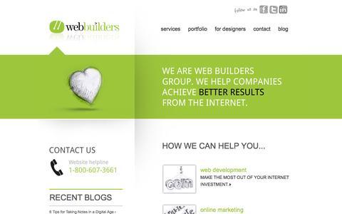 Screenshot of Home Page Menu Page webbuildersgroup.com - Home » Webbuilders Group - captured Oct. 7, 2014