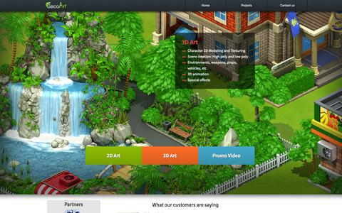 Screenshot of Home Page gecoart.com - Geco Art - 2D Art, Sketch, 3D modeling, Post-production, Special Effects, CG Video, Animation - captured Sept. 29, 2014