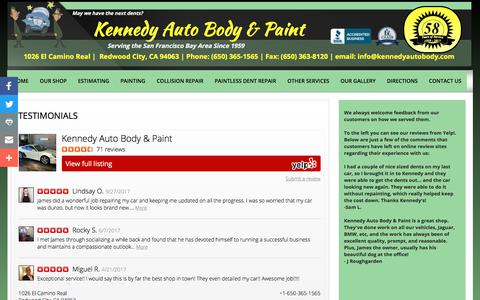 Screenshot of Testimonials Page kennedyautobody.com - Testimonials - captured Oct. 17, 2017