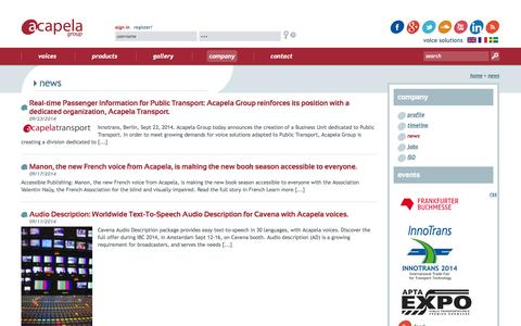 Screenshot of Press Page acapela-group.com - news | Acapela group - Voice synthesis - Text to Speech - captured Sept. 25, 2014