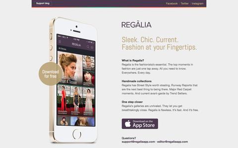 Screenshot of Home Page Terms Page regaliaapp.com - Regalia - captured Oct. 7, 2014