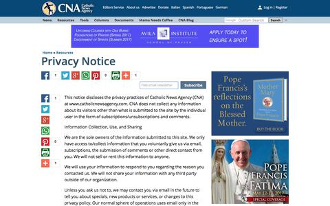 Screenshot of Privacy Page catholicnewsagency.com - Documento sin título - captured May 15, 2017