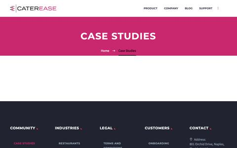 Screenshot of Case Studies Page caterease.com - (2) New Messages! - captured Feb. 25, 2019