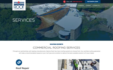 Screenshot of Services Page nationsroof.com - Commercial Roofing Services | Nations Roof - captured Oct. 20, 2018