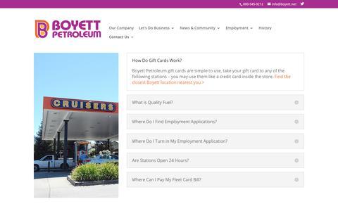 Screenshot of FAQ Page boyett.net - FAQ | Boyett Petroleum - captured Oct. 6, 2018