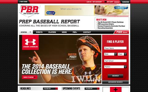 Screenshot of Home Page prepbaseballreport.com - Prep Baseball Report - captured Sept. 23, 2014