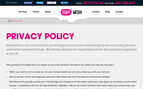 Screenshot of Privacy Page soapmedia.co.uk - Privacy Policy | Soap Media - captured Aug. 17, 2016