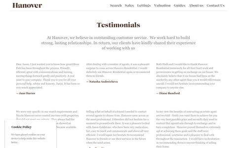 Screenshot of Testimonials Page hanover-residential.co.uk - Testimonials | Hanover - captured July 16, 2018