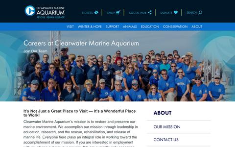Screenshot of Jobs Page seewinter.com - Employment | Clearwater Marine Aquarium - captured Aug. 11, 2018