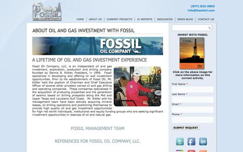 Screenshot of About Page fossiloil.com - Oil and Gas Investment | About Fossil Oil Company - captured Oct. 6, 2014
