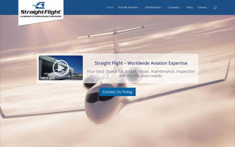 Screenshot of Home Page straightflight.com - Straight Flight, Inc. | Aircraft Maintenance, Repair and Modifications - captured Oct. 25, 2017