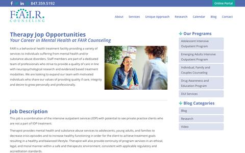 Screenshot of Jobs Page faircounseling.com - Careers - FAIR Counseling - captured July 6, 2018