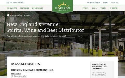 Screenshot of Contact Page Locations Page horizonbeverage.com - Find Locations | Across New England | Horizon Beverage - captured Oct. 23, 2018