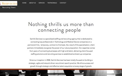 Screenshot of About Page sanlink.net - sanlink | ABOUT US - captured Sept. 28, 2017