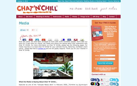 Screenshot of Press Page chatnchill.com - Media - Chat 'N' Chill® : Chat 'N' Chill® - captured Oct. 2, 2014