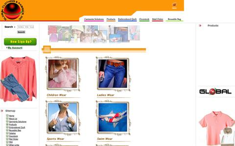 Screenshot of Products Page globalcnf.com - Garments Manufacturer: Global Clothing and Fabrics, Inc. - captured Oct. 3, 2014