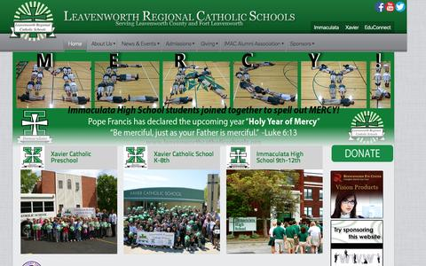 Screenshot of Home Page leavenworthcatholicschools.org - Leavenworth Regional Catholic Schools - captured Oct. 13, 2015