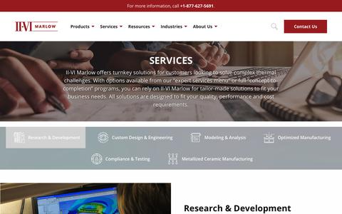 Screenshot of Services Page marlow.com - Services | II-VI Marlow - captured Oct. 1, 2018