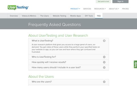 Screenshot of FAQ Page usertesting.com - Frequently Asked Questions About UserTesting - captured July 3, 2015