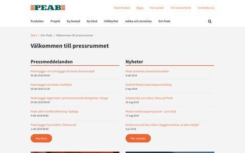 Screenshot of Press Page peab.se - Välkommen till pressrummet - Peab - captured Nov. 4, 2018