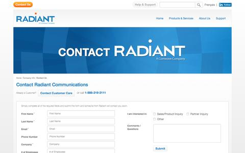 Screenshot of Contact Page radiant.net - Contact Us | Radiant Communications | Canada - captured Feb. 5, 2016