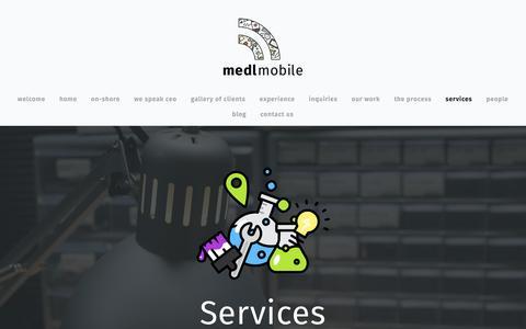 Screenshot of Services Page medlmobile.com - Services — medlmobile - captured Nov. 12, 2016