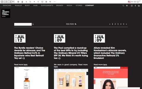 Screenshot of Blog deciem.com - DECIEM | Deciem Blog - captured Sept. 25, 2018
