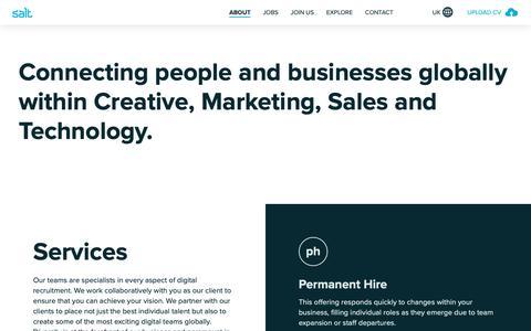 Screenshot of About Page welovesalt.com - About Salt - World Renowned Digital Recruitment Agency - captured Sept. 30, 2018