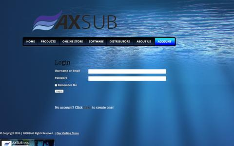 Screenshot of Login Page axsub.com - Login   AXSUB - captured Feb. 5, 2016