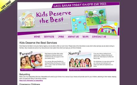 Screenshot of Services Page kidsdeservethebest.co.uk - Professional services for nannies and parents in Newcastle and the north east - captured Oct. 1, 2014