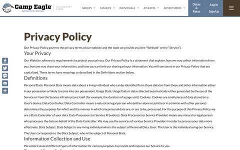 Screenshot of Privacy Page campeagle.org - Privacy Policy - Camp Eagle - captured Nov. 4, 2019
