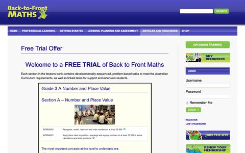 Screenshot of Trial Page backtofrontmaths.com.au - Free Trial Offer - Back-to-Front Maths | Kennedy PressBack-to-Front Maths | Kennedy Press - captured Nov. 21, 2018