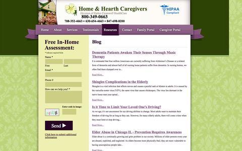 Screenshot of Blog homeandhearthcare.com - In Home Health Care Blog - Senior Care Chicago IL, Elderly Caregiver - Home & Hearth Caregivers - captured Oct. 2, 2014