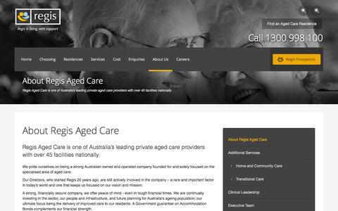 Screenshot of About Page regis.com.au - About Regis Aged Care - captured Sept. 25, 2014