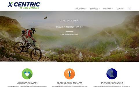 Screenshot of Home Page x-centric.com - X-Centric Solutions - Home - captured Sept. 17, 2015