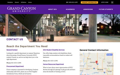 Screenshot of Contact Page gcu.edu - Enroll at Grand Canyon University | Contact Us | GCU - captured Oct. 15, 2016