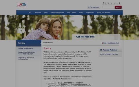 Screenshot of Privacy Page tricare.mil - Privacy - captured Nov. 4, 2014