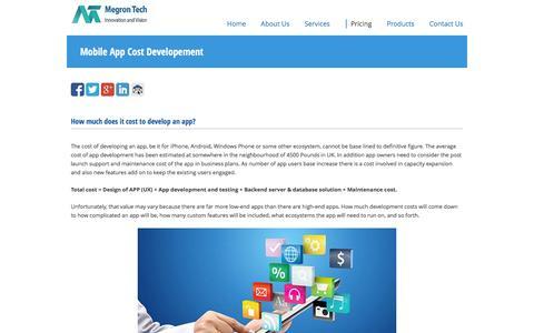 Screenshot of Pricing Page megrontech.co.uk - Mobile App Cost Developement   MegronTech - captured Nov. 28, 2016