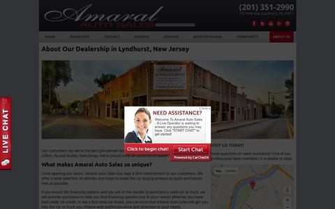 Screenshot of About Page amaralautosales.com - About Us | Our Lyndhurst Pre-Owned Vehicle Dealership - captured Feb. 6, 2016