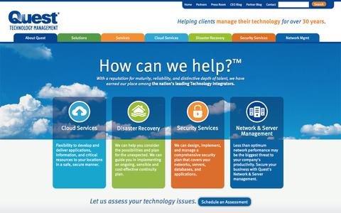 Screenshot of Home Page questsys.com - Managed Service Providers - Managed IT & Cloud Services by Quest - captured Sept. 17, 2014