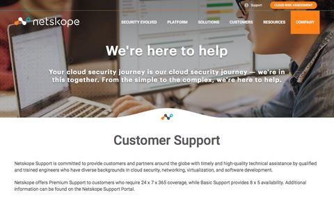 Screenshot of Support Page netskope.com - Netskope Customer Technical Support Team - captured Feb. 2, 2017