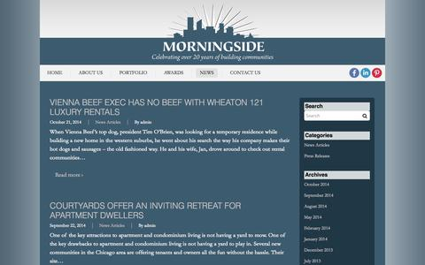 Screenshot of Press Page morningsideusa.com - News | Morningside USA - captured Oct. 26, 2014