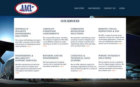 Screenshot of Services Page aacl.aero - Aging Aircraft Consulting LLC - Maintenance and Sustainment Solutions for Military & Aging Aircraft - captured Feb. 5, 2016