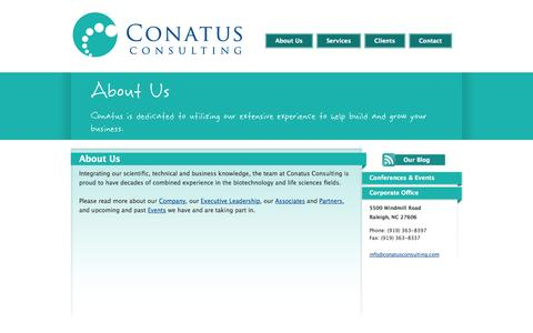 Screenshot of About Page conatusconsulting.com - Conatus Consulting - Biotechnology, Pharmaceutical, Medical Device and Life Sciences Consulting - captured Oct. 2, 2014