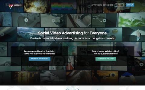 Screenshot of Home Page viralize.com - Viralize - captured Sept. 24, 2014